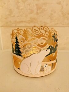 Bath & Body Works Polar Bear Candle Holder Sleeve Tree Winter Scene Christmas