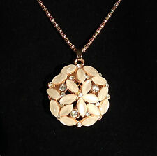 New Fashion Jewelry Crystal Opal Flower Pendant Chain Gold Long Necklace
