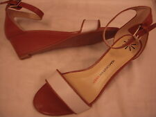 Isaac Mizrahi Live Katie Leather Mid Wedge Ankle Strap Sandals 6.5 W Tan/Cream~