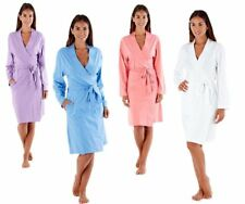 Womens Ladies Robe Plain Jersey Soft Dressing Gown 100 Cotton Pockets Light White 12-14