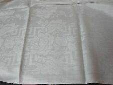 "VINTAGE WHITE IRISH LINEN DAMASK TABLECLOTH w TRELLIS OF ROSES 66"" X 80"""