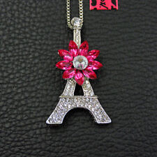 Hot Betsey Johnson Pink Crystal Flower Tower Pendant Sweater Necklace