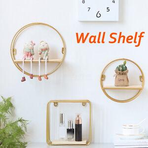 Mounted Shelf Metal Storage Holder Art Deco Round Iron Display Wall Iron