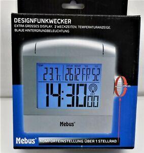 Digitaler Funkwecker Wecker mit Kalender und Temperaturanzeige Mebus Silber