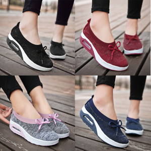 Women's Lace Up Casual Air Cushion Platform Mesh Sneakers Sports Running Shoes