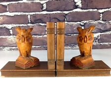 Wood Owl Bookends Hand Carved Black Forest Germany Mid Century