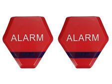 Dummy Burglar Alarm Bell Boxes x 2 - Fake Decoy Solar Flashing LED Light - Red