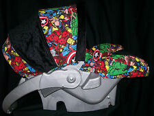 MARVEL BLACK WHITE BABY CAR SEAT APRON HARNESS COVERS HAND MADE SUPER HEROES