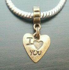 Heart I Love You Bronze Tone Dangle Bead for European Style Charm Bracelet