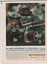 "Original 1963 Bronson Fishing Reel Magazine Ad ""An Open Challenge To Fishermen"""