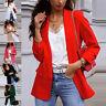 Womens Long Sleeve Slim Blazer Work Jacket Formal Suit Ladies Plain Collar Coat