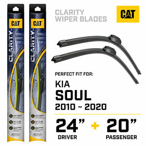 """24+20"""" Exact Fit For 2010-2020 Kia Soul CAT Clarity Windshield Wiper Blades"""