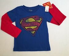 NWT Sz 5 5T Superman Distressed Logo Red & Blue Double Sleeve T-Shirt