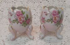 Fine A Quality Japan Hand Painted Pink Roses Footed Broken Egg Cup Planters x 2