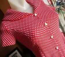 SMALL Vtg 70's Womens HAND MADE POLKA DOT RED POLYESTER KNIT SAILOR FLAP TOP