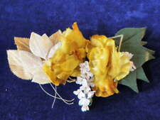 """Vintage Millinery Flower Collection 3/4-4"""" Yellow Gold White Velvet Japan H1833"""