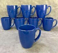 "Set of 8 CORELLE STONEWARE Dark NAVY BLUE 10oz COFFEE MUG TEA CUP 4"" Tall"