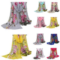 Fashion Women Chiffon Flower Scarf Hijab Shawl Long Ladies Scarves Stole Wrap