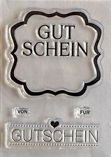 """Clear Stempel transparent   """" Gutschein """" 4 teilig"""