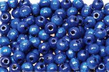 Holzperlen 10mm blau, glänzend, 500 Stück