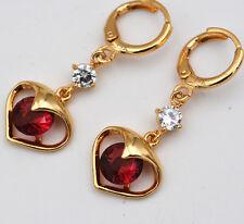 Crystal Clear White Cz Love Earrings e012 14K Plating Gold Filled 7mm Red Garnet
