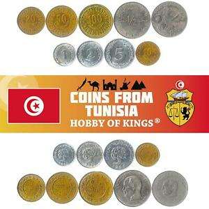 SET 9 COINS FROM TUNISIA. 1, 2, 5, 10, 20, 50, 100 MILLIMES, 1/2 AND 1 DINAR