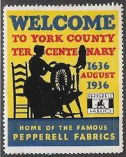 Usa Cinderella stamp: York County Tercentenary 1936, Pepperell Fabric - dw885.2