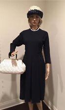 Vintage 1950s Sandra Sage dress pin up rockabilly navy blue