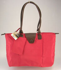Jo Ann Marie Designs Long Handle Fold Up Tote Bright Red Brown Handles New