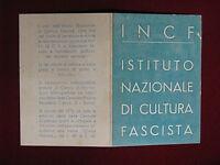 TESSERA Istituto Cultura Fascista INCF 1940 MANTOVA A. XVIII #T243