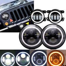 """LED Black 7"""" Round Headlight + Fog Light Kit Combo for Wrangler JK 2007-2017"""