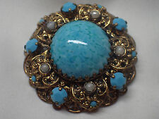 VINTAGE HIGH END TURQUOISE CABOCHON GOLD TONE FILIGREE LAYERED PIN BROOCH  2 1/4