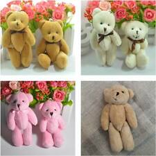 11CM Plush Mini Joint Bare Teddy Bear With Bow Bouquet 4Color Mixed 12pc/lot