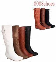 Women's Low Wedge Flat Heel Round Toe  Knee High Causal Dress Boot  Size 5 -10