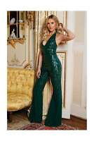 Goddiva Stephanie Sequin Chiffon Halterneck Evening Party Jumpsuit RRP £69.99
