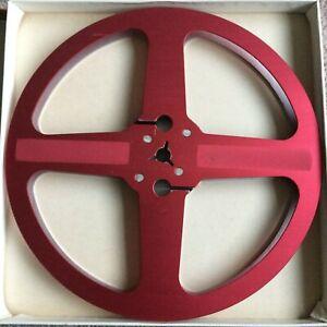 "Un-Branded RED 7"" 1/4"" METAL reel to reel tape spool (empty) AMPEX? AKAI AGFA"