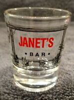 MINT NAME JANET JAN BIRTHDAY GIFT IDEA JANET'S BAR SHOT GLASS TOOTHPICK HOLDER