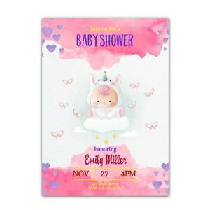 30 invitations baby unicorn hearts girl shower sprinkle watercolor pink purple