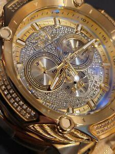 HUGE Invicta Shaq 60/66mm Bolt Swiss Mvmt Yellow Gold Drenched Diamond Watch