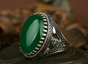 Luxury Big Oval Natural Green Aqeeq Agate 925 sterling silver Men's Woman's Ring