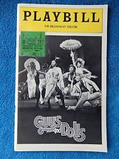 Guys And Dolls - Broadway Theatre Playbill w/Ticket - November 24th, 1976