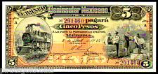 "MEXICO PS465a ""STEAM TRAIN"" 5 PESOS 1914 RAW PREMIUM GEM"