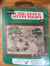 "Vtg 1960s-70s Creative Crewel Stitchery Kit ""Landscape"" Design #878 paragon? new"