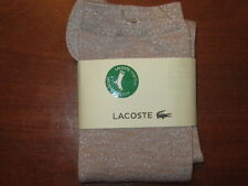 NWT $22 LACOSTE metallic STRETCH dressy trouser SOCKS Make up/argent US sz 6-9