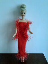CHRISTMAS HAND KNITTED BARBIE/SINDY OUTFIT LONG DRESS, BOA & SHOES.