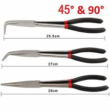 "3x 11"" Extra Long Nose Pliers Set Straight Bent Tip Mechanic Equipment Hand Tool"