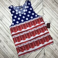 NWT Brooklyn Cloth Men's L Tank Top American Flag Beer Pong Red White Blue USA