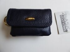 Faux Navy Leather Coin Purse Mini Wallet Key Pouch Zip Pockets Basic Editions