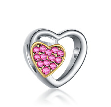 Love 925 Silver Pink CZ Charm Beads Fit sterling Bracelet Necklace Chain B#293