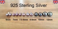 925 Sterling Silver - Freshwater Pearl Peacock Black Stud Earrings - 6 - 12mm